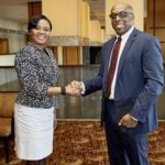Minister of Tourism, Shamfa Cudjoe, greets General Manager of the Hyatt Regency Trinidad, Russell George, during her visit to the Port of Spain establishment. Photo courtesy the Ministry of Tourism.