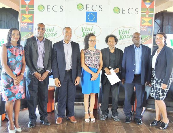 Dr. Vanus James (third from right) was one of the seven panelists at the forum, that included Grenada's Economic Development Minister, Oliver Joseph (second from right) and President of the St. Lucia Hotel and Tourism Association, Sanovnik Destang (third from left). Photo credit: OECS.