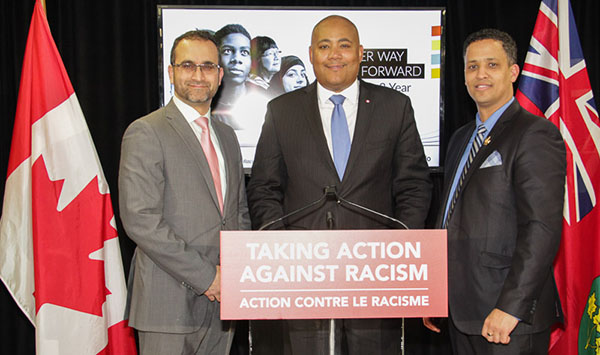 Seen at the launch, Michael Coteau, Minister Responsible for Anti-Racism, is flanked by (from left to right): Ihsaan Gardee, Executive Director, National Council of Canadian Muslims; and Matthew Green, Hamilton City Councillor, Ward 3.