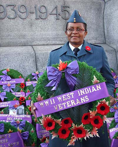 Sergeant Joan Buchanan, now retired, lays wreath in honour of West Indian Veterans on Remembrance Day 2009 in Ottawa, Ontario. Photo credit: ©2009 DND/MDN Canada.