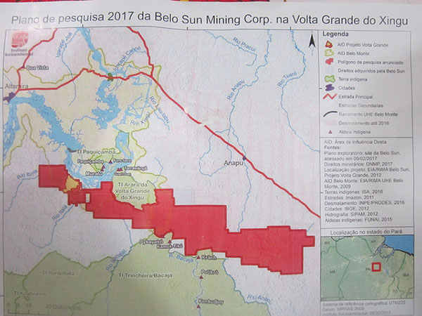 A map from Belo Sun showing the area where the Canadian mining company intends to extract 60 tons of gold. In blue, the Volta Grande or Big Bend in the Xingu River, where the Belo Monte hydroelectric plant has been built, in Brazil's Amazon region. Photo credit: Mario Osava/IPS.