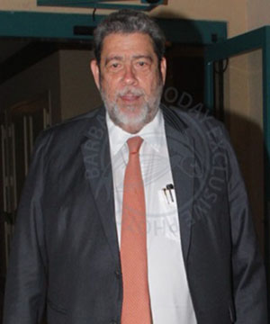 Dr. Ralph Gonsalves leaving the Hilton Barbados, following the LIAT meeting.