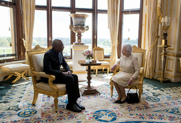 President David Granger, earlier in the day, had an audience with Her Majesty Queen Elizabeth II, at Windsor Castle during his first official visit to the United Kingdom. Photo credit: GINA.