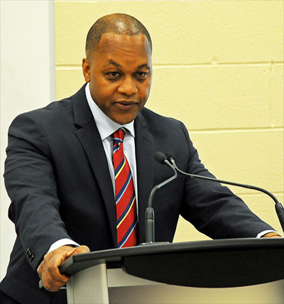 Justice Michael Tulloch addresses the public consultation meeting in Thornhill, Ontario. Photo contributed.