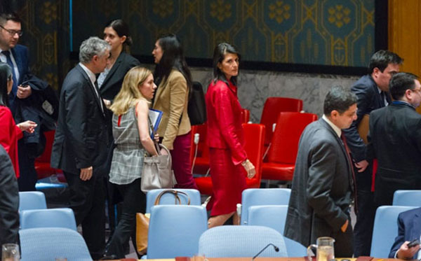 Nikki Haley, the American ambassador to the UN, in red, at the April 7 Security Council meeting, reacting to the chemical-weapons attack in Syria. Photo credit: Rick Bajornas/UN.