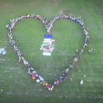 Marchers form a heart shape at the 2015 climate march, in Port-of-Spain, Trinidad and Tobago, organised by youth activists from IAMovement. Photo credit: IAMovement.