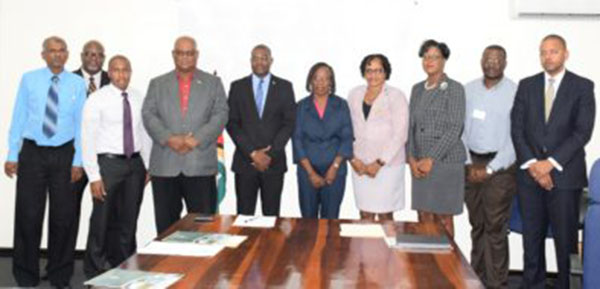 The newly sworn in Board of Directors for the Power Producer and Distribution Incorporated with Minister of Public Infrastructure, David Patterson ( fifth left) and Minister within the Ministry of Public Infrastructure, Annette Ferguson (fourth right). Photo credit: GINA.