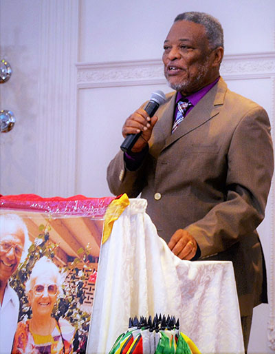 Former Prime Minister of Guyana, Samuel Hinds, addresses the audience at the recent luncheon tribute to Dr. Cheddi Jagan and his wife Janet, who were both presidents of the South American republic. Photo contributed.
