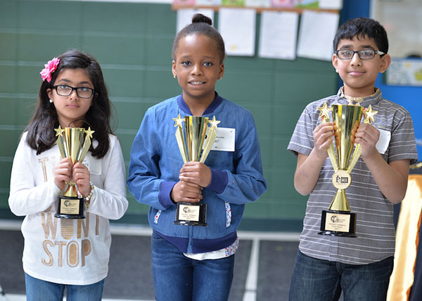 Three of the winners from the 2017 Spelling Bee Regional Championship. Photo courtesy of SBOC.