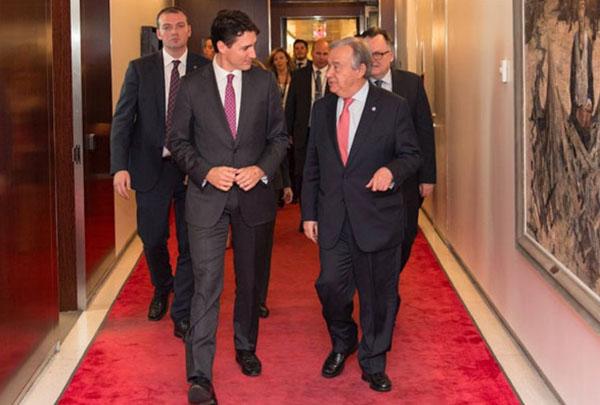 Inner sanctum: António Guterres, right, and Justin Trudeau, Canada's prime minister, on April 6 in the UN's secretariat, New York. Photo credit: Mark Garten/UN.