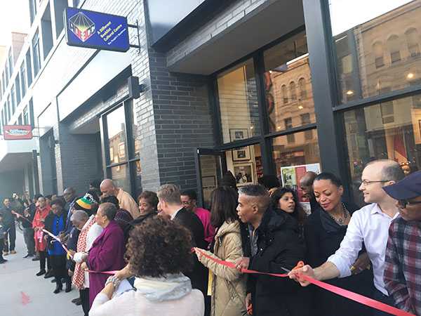 Toronto city councilor, Mike Layton (Ward 19 Trinity-Spadina), second from right, helps cut the ribbon at the launch. Photo credit: Neil Armstrong.