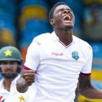 West Indies fast bowler, Antiguan Alzarri Joseph, celebrates the Windies' win over Pakistan. Photo credit: CMC.