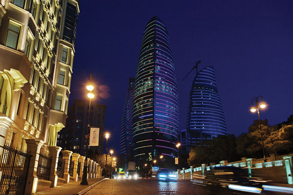 Night time view of Baku, Azerbaijan. Photo credit: Ministry of Tourism and Culture, Azerbaijan.