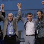 The newly-elected top officers of the Canadian Labour Congress after elections at its 28th Constitutional Convention at the Metro Toronto Convention Centre on May 11, 2017 (left to right): Donald Lafleur, executive vice-president; Larry Rousseau, executive vice-president; Hassan Yussuff, president; and Marie Clarke Walker, secretary-treasurer. Photo contributed.