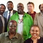 Members of the steering committee of the Canadian Caribbean Arts Network are, standing, left to right: Kevin Ormsby, Dewitt Lee, Ronald Taylor, Roger Gibbs and Michael Lashley. Sitting are Rhoma Spencer, left, and, Judith Lezama, right. Photo contributed.