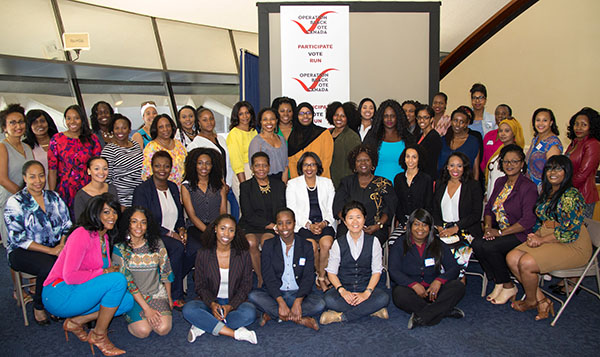 Participants of the Black Women's Political Summit, organized by Operation Black Vote Canada, at Toronto City Hall Members' Lounge on June 3, 2017. Joining them is Toronto city councillor, Kristyn Wong-Tam, front row, fourth from right. Photo credit: Vyola Ink Design and Print.