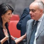 "Nikki Haley, left, and the Egyptian ambassador to the UN, Amr Aboulatta, in the Security Council. Haley told Congress, recently, that Trump's proposed budget for the UN put the world body ""on notice."" Photo credit: Rick Bajornas/UN Photo."