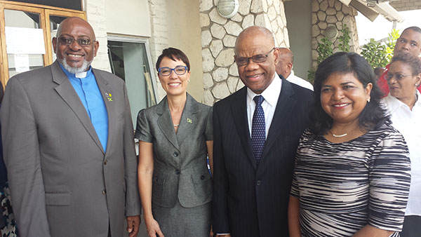Jamaica's High Commissioner to the UK, Seth George Senator Kamina Johnson Smith, Minister of Foreign Affairs and Foreign Trade (second from left) seen with Jamaica's High Commissioner to the UK, Seth George Ramocan (second from right); Janice Miller, High Commissioner to Canada (right); and Bishop of the Jamaica District of the Methodist Church in the Caribbean and Americas, Bishop Everald Galbraith. Photo by Michael Van Cooten.