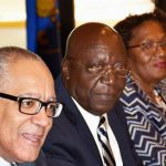 Bank of Jamaica (BOJ) Governor, Brian Wynter (left), addresses the media at the Bank's quarterly press briefing, at its headquarters in downtown Kingston on August 16. Others in the photo are (from second left): Senior Deputy Governor, John Robinson; Deputy Governor of Financial Institutions, Supervisory Division, Maurene Simms; and Deputy Governor, Administration and Technical Services, Finance and Technology and Payment System and Risk Management, Livingstone Morrison. Photo credit: Mark Bell/JIS.