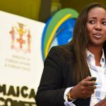 President of marketing and communication agency in Canada, Brand EQ, Nadine Spencer, speaking at the recently concluded Jamaica 55 Diaspora Conference. Photo by the JIS photographer Donald Haye.