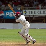Brian Lara batting for West Indies against India at Kensington Oval, Bridgetown, Barbados, in May 2002. He scored 55 runs. Photo credit: Ukexpat.