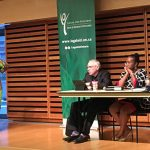 Left-right: Angela Robertson and Debbie Douglas, facilitators at the podium, while sitting on the panel are Julian Falconer, Asha James and Moya Teklu at a community meeting, organized by Legal Aid Ontario at the Toronto Reference Library on Wednesday, September 27, 2017.