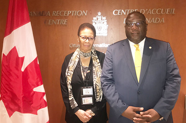 St. Kitts-Nevis Prime Minister, Dr. Timothy Harris, pictured with Shirley Skerritt-Andrew, St. Kitts-Nevis' High Commissioner to Canada, based in Ottawa. Photo credit: St. Kitts-Nevis government.