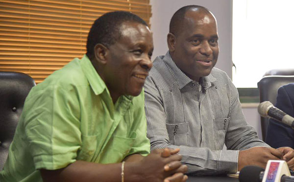 Former CARICOM Chair and Grenada Prime Minister, Dr. Keith Mitchell (left), and Dominica Prime Minister, Roosevelt Skerrit, seen at a news conference. Photo courtesy of Roosevelt Skerrit's Twitter account.