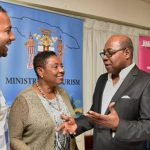 Minister of Tourism, Edmund Bartlett (third left), shares in conversation with (from left) Chairman of the National Carnival in Jamaica Stakeholders Committee, Kamal Bankay; Minister of Culture, Gender, Entertainment and Sport, Olivia Grange; and Acting Director of Tourism, Jamaica Tourist Board, Donnie Dawson. They were at the launch of Carnival in Jamaica 2018 at The Jamaica Pegasus hotel, New Kingston, on October 19. Photo credit: Donald De La Haye/JIS.