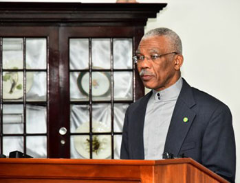 President Granger addresses members of the media after appointing new GECOM Chairman. Photo credit: GINA.