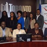 Standing, from left: Caspar Hall, Brittany Amofah, Denise Andrea Campbell, Tiffany Ford, Tiffany Gooch, Yanique Williams, Ariel Gough, Peter Flegel and Bobby Adore. Seated, from left are: Kevin Modeste, Velma Morgan, Marva Wisdom and Kyle Elliott at the Next Generaion Black Youth Political Summit held at Toronto City Hall on Oct. 28, 2017. Photo credit: Gwyneth Chapman.
