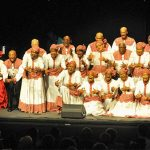 The venerable Heritage Singers (Canada) -- longevity personified -- performed some of their best renditions of African and Caribbean folk culture, as they joyously celebrated the group's 40th anniversary, on Saturday, October 21. Photo by Maurice Munroe.
