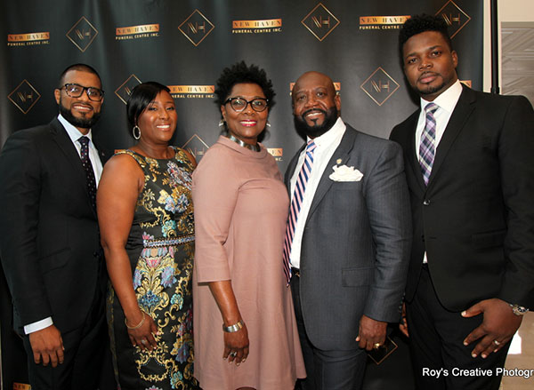 New Haven President and CEO, Lennox Walker, (second from right) poses with his wife, Dorett (centre), Vice-president/Funeral Director, Shelley Challenger (second from left) and two guests. Lennox and Dorett have been married for over 33 years, have two daughters, three sons, a daughter-in-law (Shawn, Chaunyce, Damar, Shamar, Lamar and Andreen) and a grandson, Elijah. Photo by Roy Virtue.