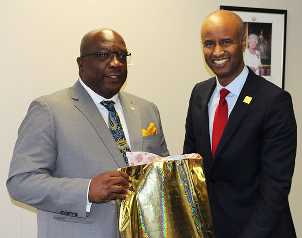 While in Canada attending the Toronto Global Forum, St. Kitts-Nevis Prime Minister, Dr. Timothy Harris (left), met with Canada's Minister of Immigration, Refugees and Citizenship, Ahmed Hussen, on Monday, October 30. The Prime Minister engaged the Hussen in a discussion, where Canada`s immigration requirements featured among the topics addressed.