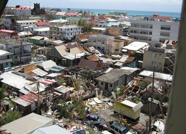 Some of the damage caused by Hurricane Maria in the Caribbean, earlier this year.