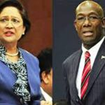 T&T Opposition Leader, Kamla Persad Bissessar (left) and Prime Minister Dr. Keith Rowley.