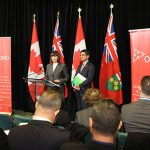 Marie-France Lalonde, Ontario's Minister of Community Safety and Correctional Services, and Attorney General, Yasir Naqvi, seen at the press conference, on November 2, where they announced the government's upcoming Safer Ontario Act, 2017.