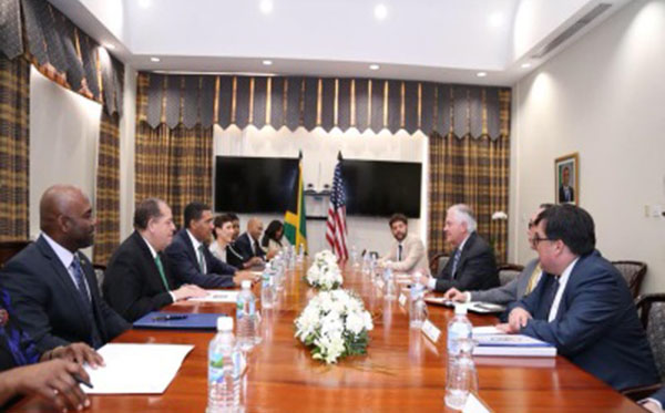 Prime Minister Andrew Holness (second from left) and US Secretary of State, Rex Tillerson (second from right), seen leading the Jamaica-US delegations' talks. Photo credit: JIS.