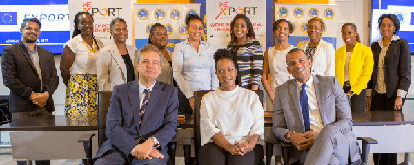 In the foreground, from left to right: Luis Maia, Head of Cooperation at the EU Delegation to Barbados, the Eastern Caribbean States, the OECS and CARICOM/CARIFORUM; Executive Director of Caribbean Export, Pamela Coke Hamilton; and Daniel Best, Director of Projects at the Caribbean Development Bank, pose with participants at the signing of the agreement.