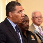Prime Minister, Andrew Holness (left), fields questions from journalists during a press conference at Jamaica House on Sunday (March 18), at which he declared a State of Public Emergency for the St. Catherine North Police Division, effective March 18. The enhanced security measure saw a joint Jamaica Constabulary Force (JCF)/Jamaica Defence Force (JDF) team deployed on Sunday to undertake engagements in the area. Also pictured (from 2nd left) are: National Security Minister, Robert Montague; Justice Minister, Delroy Chuck; and incoming Police Commissioner, Major General Antony Anderson. Photo credit: Adrian Walker/JIS.