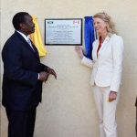 Canada's High Commissioner to Jamaica, Laurie Peters (2nd right), unveils a plaque marking the official opening of the Caribbean Special Tactics Centre (CSTC) at the Jamaica Defence Force's (JDF) training camp in Moneague, St. Ann, on Monday, as former National Security Minister, Robert Montague (2nd left), looks on. Others in the photo (from left) are: Chief of Defence Staff, Major General Rocky Meade; and Commander of the Canadian Special Operations Forces Command, Major General M.N. Rouleau. Photo credit: Claudia Gardner/JIS.