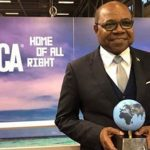 Jamaica's Tourism Minister, Edmund Bartlett, with his Tourism Minister of the Year Worldwide award at the ITB in Berlin Trade Show. Photo credit: JIS photographer.