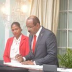 Gaston Brown is sworn-in as Antigua PM.