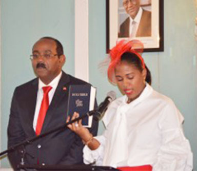 Maria Browne takes the oath of office.