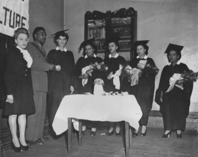 Viola, left, with School of Beauty Culture graduates, ca. 1945. MG 21.14 – Wanda Robson Collection. 16-89-30229. Beaton Institute, Cape Breton University.