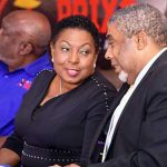 Jamaica's Minister of Sport, Olivia Grange (centre), in conversation with Assistant General Manager of the Jamaica National (JN) Foundation, Leon Mitchell (right), at the press launch for the Jamaica National (JN) Racers Grand. At left is President of Racers Track Club, Dr. Glen Mills. Photo credit: Adrian Walker/JIS.