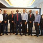 Trinidad and Tobago Prime Minister, Dr. Keith Rowley, centre, who is currently on an official visit to China, is pictured with Chinese businessmen and T&T officials, today.