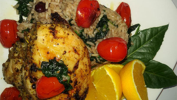 Lemon Chicken, Spinach And Rice
