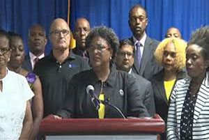 Newly-elected Prime Minister, Mia Mottley, addressing Barbadians, following meeting with social partnerships.