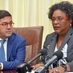 Barbados Prime Minister, Mia Mottley (right), met with IDB President, Luis Alberto Moreno, yesterday at Government Headquarters.